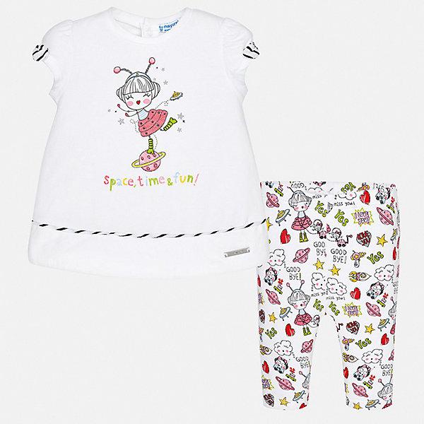 Комплект леггинсы Mayoral для девочкиКомплекты<br>Характеристики товара:<br><br>• цвет: белый<br>• комплектация: леггинсы, футболка<br>• состав ткани: 95% хлопок, 5% эластан<br>• сезон: лето<br>• пояс: резинка<br>• застежка: кнопки<br>• короткие рукава<br>• страна бренда: Испания<br>• неповторимый стиль Mayoral<br><br>Трикотажный комплект от Mayoral - отличный способ обеспечить ребенку комфорт в жаркую погоду. Оригинальные детские леггинсы и футболка сшиты из качественного материала с преобладанием хлопка в составе. Симпатичный комплект - детские леггинсы и футболка - подойдет для ношения в разных случаях. <br><br>Комплект: футболка, леггинсы Mayoral (Майорал) для девочки можно купить в нашем интернет-магазине.<br>Ширина мм: 123; Глубина мм: 10; Высота мм: 149; Вес г: 209; Цвет: розовый; Возраст от месяцев: 24; Возраст до месяцев: 36; Пол: Женский; Возраст: Детский; Размер: 98,74,80,86,92; SKU: 7545926;
