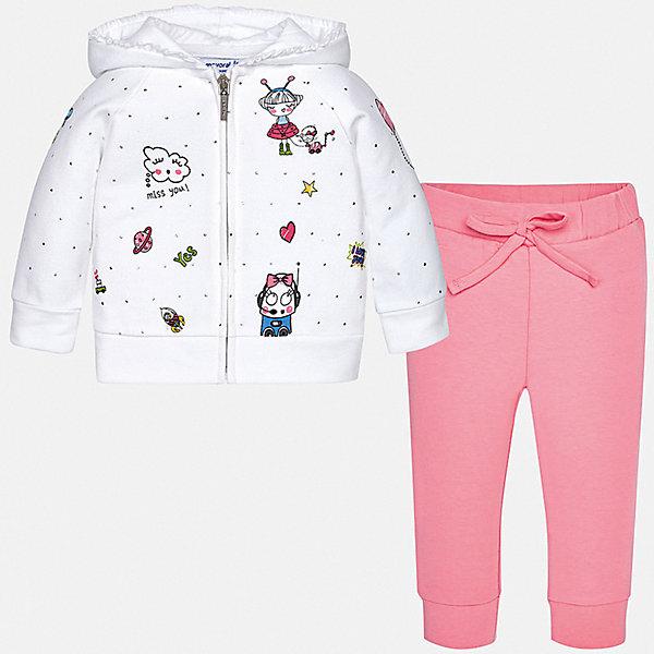 Спортивный костюм Mayoral для девочкиКомплекты<br>Характеристики товара:<br><br>• цвет: розовый<br>• комплектация: толстовка, брюки<br>• состав ткани: 96% хлопок, 4% полиэстер<br>• сезон: круглый год<br>• особенности модели: спортивный стиль, с капюшоном<br>• застежка: молния<br>• пояс: резинка, шнурок<br>• длинные рукава<br>• страна бренда: Испания<br>• неповторимый стиль Mayoral<br><br>Такой спортивный костюм - толстовка и брюки для девочки от Майорал - отлично сочетается между собой, а также с другими вещами. В этом детском спортивном костюме - сразу две удобные вещи. В спортивном костюме для девочки от испанской компании Майорал ребенок будет выглядеть модно, а чувствовать себя - удобно. <br><br>Спортивный костюм Mayoral (Майорал) для девочки можно купить в нашем интернет-магазине.<br>Ширина мм: 247; Глубина мм: 16; Высота мм: 140; Вес г: 225; Цвет: розовый; Возраст от месяцев: 6; Возраст до месяцев: 9; Пол: Женский; Возраст: Детский; Размер: 74,98,92,86,80; SKU: 7545977;