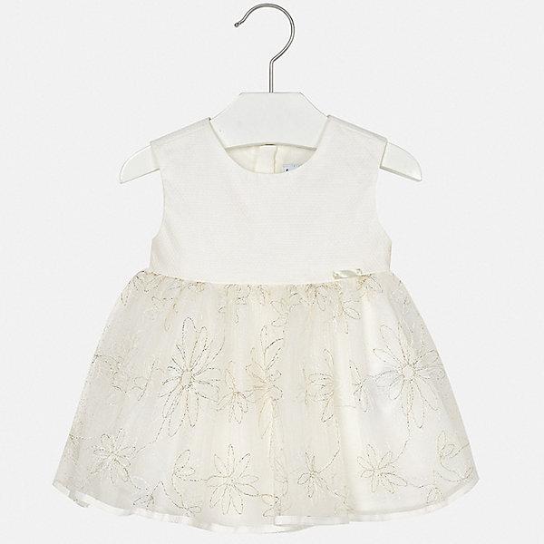 Платье Mayoral для девочкиПлатья<br>Характеристики товара:<br><br>• цвет: белый<br>• состав ткани верха: 64% хлопок, 24% вискоза, 12% полиамид<br>• подкладка: 100% хлопок<br>• сезон: круглый год<br>• особенности модели: нарядная<br>• застежка: молния<br>• без рукавов<br>• страна бренда: Испания<br>• неповторимый стиль Mayoral<br><br>Пышное детское платье сделано из дышащего приятного на ощупь материала. Благодаря качественной хлопковой ткани детского платья для девочки создаются комфортные условия для тела. Платье для девочки отличается стильным продуманным дизайном.<br><br>Платье для девочки Mayoral (Майорал) можно купить в нашем интернет-магазине.<br>Ширина мм: 236; Глубина мм: 16; Высота мм: 184; Вес г: 177; Цвет: бежевый; Возраст от месяцев: 6; Возраст до месяцев: 9; Пол: Женский; Возраст: Детский; Размер: 74,98,92,86,80; SKU: 7546060;