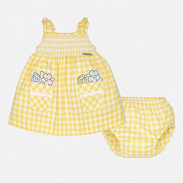 Платье Mayoral для девочкиПлатья<br>Характеристики товара:<br><br>• цвет: желтый<br>• комплектация: платье, трусы<br>• состав ткани: 100% хлопок<br>• сезон: лето<br>• без рукавов<br>• страна бренда: Испания<br>• неповторимый стиль Mayoral<br><br>Легкое детское платье отличается модным дизайном. Это платье для девочки от Майорал сделано из качественного материала и тщательно подобранной фурнитуры. Платье для девочки от испанской компании Майорал - стильный удачный наряд от европейских дизайнеров. <br><br>Платье для девочки Mayoral (Майорал) можно купить в нашем интернет-магазине.<br>Ширина мм: 236; Глубина мм: 16; Высота мм: 184; Вес г: 177; Цвет: желтый; Возраст от месяцев: 6; Возраст до месяцев: 9; Пол: Женский; Возраст: Детский; Размер: 74,92,86,80; SKU: 7546242;