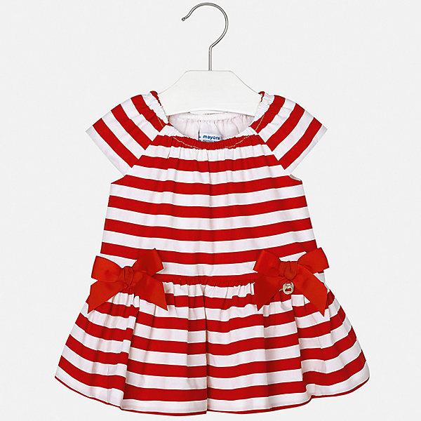 Платье Mayoral для девочкиОдежда<br>Характеристики товара:<br><br>• цвет: красный<br>• состав ткани верха: 100% хлопок<br>• подкладка: 100% хлопок<br>• сезон: лето<br>• короткие рукава<br>• страна бренда: Испания<br>• неповторимый стиль Mayoral<br><br>Полосатое детское платье отличается модным дизайном. Это платье для девочки от Майорал сделано из качественного материала и тщательно подобранной фурнитуры. Платье для девочки от испанской компании Майорал - стильный удачный наряд от европейских дизайнеров. <br><br>Платье для девочки Mayoral (Майорал) можно купить в нашем интернет-магазине.<br>Ширина мм: 236; Глубина мм: 16; Высота мм: 184; Вес г: 177; Цвет: красный; Возраст от месяцев: 6; Возраст до месяцев: 9; Пол: Женский; Возраст: Детский; Размер: 74,98,92,86,80; SKU: 7546277;
