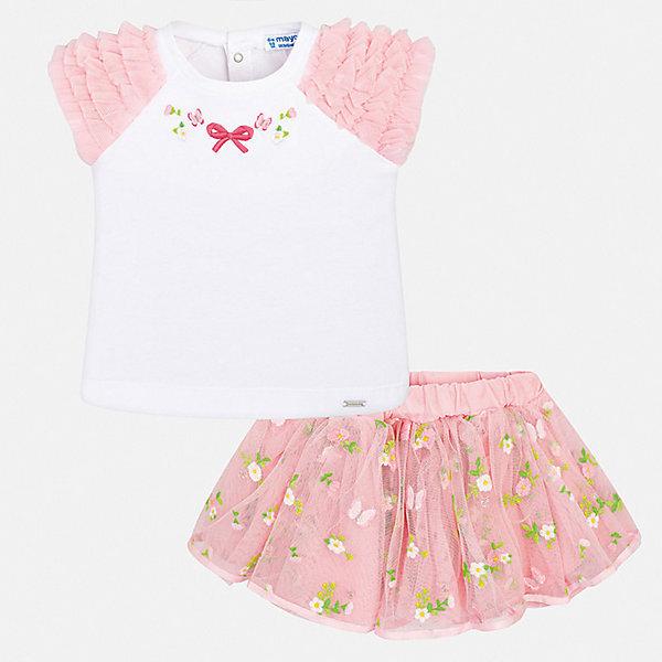 Купить Комплект:футболка, юбка Mayoral для девочки, Китай, розовый, 74, 98, 92, 86, 80, Женский