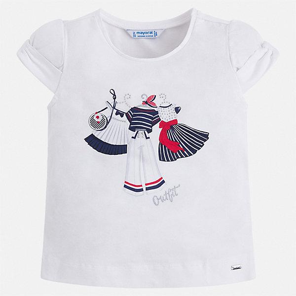 Футболка Mayoral для девочкиФутболки, поло и топы<br>Характеристики товара:<br><br>• цвет: белый<br>• состав ткани: 92% хлопок, 8% эластан<br>• сезон: лето<br>• короткие рукава<br>• страна бренда: Испания<br>• неповторимый стиль Mayoral<br><br>Удобная детская футболка с коротким рукавом украшена эффектным принтом от ведущих дизайнеров испанского бренда Mayoral. Эта футболка для девочки отличается модным дизайном. Края детской футболки обработаны мягкими швами. <br><br>Футболку Mayoral (Майорал) для девочки можно купить в нашем интернет-магазине.<br>Ширина мм: 199; Глубина мм: 10; Высота мм: 161; Вес г: 151; Цвет: синий; Возраст от месяцев: 72; Возраст до месяцев: 84; Пол: Женский; Возраст: Детский; Размер: 122,116,110,134,104,98,92,128; SKU: 7546398;