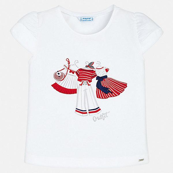 Футболка Mayoral для девочкиФутболки, поло и топы<br>Характеристики товара:<br><br>• цвет: белый<br>• состав ткани: 92% хлопок, 8% эластан<br>• сезон: лето<br>• короткие рукава<br>• страна бренда: Испания<br>• неповторимый стиль Mayoral<br><br>Хлопковая детская футболка - отличная основа для составления различных нарядов. Комфортная хлопковая футболка для девочки от Майорал поможет обеспечить ребенку комфорт. В футболке для девочки от испанской компании Майорал ребенок будет чувствовать себя удобно благодаря качественным швам и натуральному материалу. <br><br>Футболку Mayoral (Майорал) для девочки можно купить в нашем интернет-магазине.<br>Ширина мм: 199; Глубина мм: 10; Высота мм: 161; Вес г: 151; Цвет: красный; Возраст от месяцев: 18; Возраст до месяцев: 24; Пол: Женский; Возраст: Детский; Размер: 92,134,128,122,116,110,104,98; SKU: 7546416;
