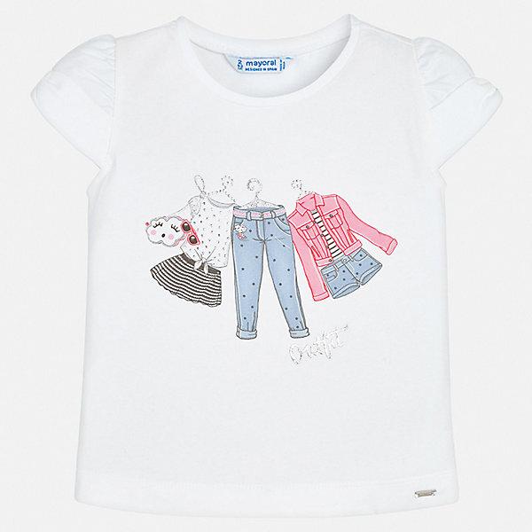 Футболка Mayoral для девочкиФутболки, поло и топы<br>Характеристики товара:<br><br>• цвет: белый<br>• состав ткани: 92% хлопок, 8% эластан<br>• сезон: лето<br>• короткие рукава<br>• страна бренда: Испания<br>• неповторимый стиль Mayoral<br><br>Такая детская футболка с коротким рукавом украшена эффектным принтом от ведущих дизайнеров испанского бренда Mayoral. Эта футболка для девочки отличается модным дизайном. Края детской футболки обработаны мягкими швами. <br><br>Футболку Mayoral (Майорал) для девочки можно купить в нашем интернет-магазине.<br>Ширина мм: 199; Глубина мм: 10; Высота мм: 161; Вес г: 151; Цвет: розовый; Возраст от месяцев: 18; Возраст до месяцев: 24; Пол: Женский; Возраст: Детский; Размер: 92,134,128,122,116,110,104,98; SKU: 7546425;