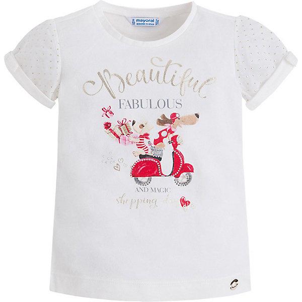 Футболка Mayoral для девочкиФутболки, поло и топы<br>Характеристики товара:<br><br>• цвет: белый<br>• состав ткани: 95% хлопок, 5% эластан<br>• сезон: лето<br>• короткие рукава<br>• стразы<br>• страна бренда: Испания<br>• неповторимый стиль Mayoral<br><br>Эффектная детская футболка сделана из натуральной трикотажной ткани, которая обеспечивает ребенку комфорт. Такая детская футболка поможет создать модный и удобный наряд для ребенка. Эта футболка для девочки от Mayoral - универсальная и комфортная базовая вещь для детского гардероба. <br><br>Футболку Mayoral (Майорал) для девочки можно купить в нашем интернет-магазине.<br>Ширина мм: 199; Глубина мм: 10; Высота мм: 161; Вес г: 151; Цвет: красный; Возраст от месяцев: 72; Возраст до месяцев: 84; Пол: Женский; Возраст: Детский; Размер: 122,116,110,104,98,92,134,128; SKU: 7546434;