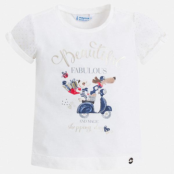 Футболка Mayoral для девочкиФутболки, поло и топы<br>Характеристики товара:<br><br>• цвет: белый<br>• состав ткани: 95% хлопок, 5% эластан<br>• сезон: лето<br>• короткие рукава<br>• стразы<br>• страна бренда: Испания<br>• неповторимый стиль Mayoral<br><br>Белая детская футболка с коротким рукавом украшена эффектным принтом от ведущих дизайнеров испанского бренда Mayoral. Эта футболка для девочки отличается модным дизайном. Края детской футболки обработаны мягкими швами. <br><br>Футболку Mayoral (Майорал) для девочки можно купить в нашем интернет-магазине.<br>Ширина мм: 199; Глубина мм: 10; Высота мм: 161; Вес г: 151; Цвет: синий; Возраст от месяцев: 18; Возраст до месяцев: 24; Пол: Женский; Возраст: Детский; Размер: 92,98,104,110,116,128,122,134; SKU: 7546443;