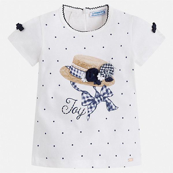 Футболка Mayoral для девочкиФутболки, поло и топы<br>Характеристики товара:<br><br>• цвет: белый<br>• состав ткани: 95% хлопок, 5% эластан<br>• сезон: лето<br>• застежка: пуговица<br>• короткие рукава<br>• страна бренда: Испания<br>• стиль и качество Mayoral<br><br>Такая детская футболка сшита из материала, который содержит хлопок, поэтому она дышащая и комфортная. Детская футболка поможет создать модный и удобный наряд для ребенка. Эта футболка для девочки от Mayoral - универсальная и комфортная базовая вещь для детского гардероба. <br><br>Футболку Mayoral (Майорал) для девочки можно купить в нашем интернет-магазине.<br>Ширина мм: 199; Глубина мм: 10; Высота мм: 161; Вес г: 151; Цвет: синий; Возраст от месяцев: 18; Возраст до месяцев: 24; Пол: Женский; Возраст: Детский; Размер: 92,134,128,122,116,110,104,98; SKU: 7546461;