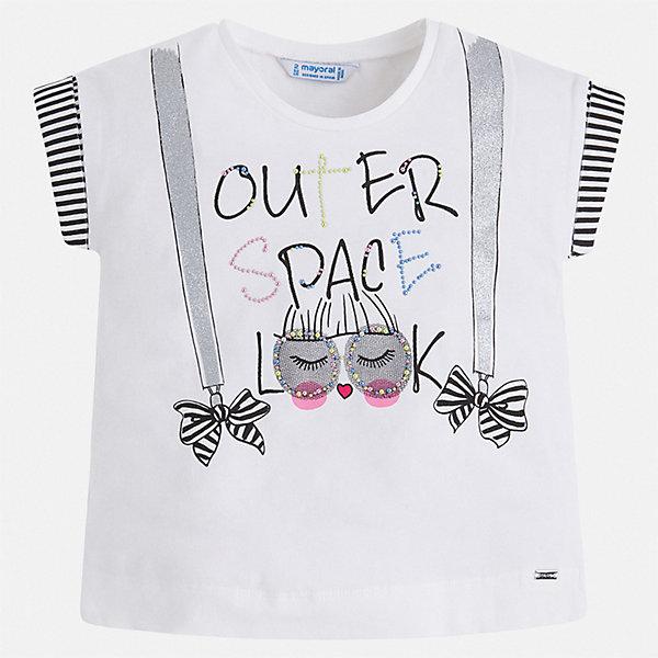 Футболка Mayoral для девочкиФутболки, поло и топы<br>Характеристики товара:<br><br>• цвет: белый<br>• состав ткани: 95% хлопок, 5% эластан<br>• сезон: лето<br>• короткие рукава<br>• стразы<br>• страна бренда: Испания<br>• стиль и качество Mayoral<br><br>Оригинальная детская футболка сшита из материала, который содержит хлопок, поэтому она дышащая и комфортная. Детская футболка поможет создать модный и удобный наряд для ребенка. Эта футболка для девочки от Mayoral - универсальная и комфортная базовая вещь для детского гардероба. <br><br>Футболку Mayoral (Майорал) для девочки можно купить в нашем интернет-магазине.<br>Ширина мм: 199; Глубина мм: 10; Высота мм: 161; Вес г: 151; Цвет: белый; Возраст от месяцев: 18; Возраст до месяцев: 24; Пол: Женский; Возраст: Детский; Размер: 92,134,128,122,116,110,104,98; SKU: 7546561;