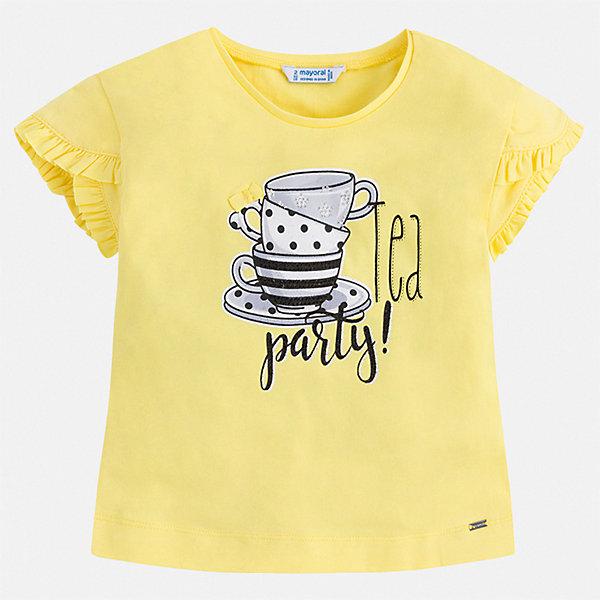 Футболка Mayoral для девочкиФутболки, поло и топы<br>Характеристики товара:<br><br>• цвет: желтый<br>• состав ткани: 95% хлопок, 5% эластан<br>• сезон: лето<br>• короткие рукава<br>• страна бренда: Испания<br>• стиль и качество Mayoral<br><br>Яркая детская футболка - универсальная базовая вещь. Эта хлопковая футболка для девочки от Майорал поможет обеспечить ребенку комфорт. В футболке для девочки от испанской компании Майорал ребенок будет чувствовать себя удобно благодаря качественным швам и натуральному материалу. <br><br>Футболку Mayoral (Майорал) для девочки можно купить в нашем интернет-магазине.<br>Ширина мм: 199; Глубина мм: 10; Высота мм: 161; Вес г: 151; Цвет: желтый; Возраст от месяцев: 36; Возраст до месяцев: 48; Пол: Женский; Возраст: Детский; Размер: 104,134,128,122,116,110,98,92; SKU: 7546606;
