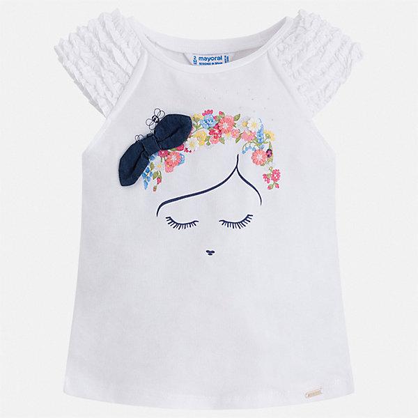 Майка Mayoral для девочкиФутболки, поло и топы<br>Характеристики товара:<br><br>• цвет: белый<br>• состав ткани: 57% хлопок, 38% полиэстер, 5% эластан<br>• сезон: лето<br>• короткие рукава<br>• страна бренда: Испания<br>• стиль и качество Mayoral<br><br>Белая детская футболка разработана специально для детей. Эта футболка для девочки с коротким рукавом украшена эффектным принтом от ведущих дизайнеров испанского бренда Mayoral. Края детской футболки обработаны мягкими швами. <br><br>Футболку Mayoral (Майорал) для девочки можно купить в нашем интернет-магазине.<br>Ширина мм: 199; Глубина мм: 10; Высота мм: 161; Вес г: 151; Цвет: белый; Возраст от месяцев: 18; Возраст до месяцев: 24; Пол: Женский; Возраст: Детский; Размер: 92,134,128,122,116,110,104,98; SKU: 7546651;
