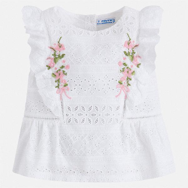 Купить Блуза Mayoral для девочки, Индия, белый, 128, 92, 134, 122, 116, 110, 104, 98, Женский