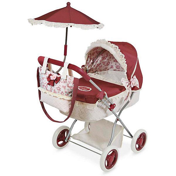 Коляска для куклы DeCuevas Мартина с сумкой и зонтиком, 65 смТранспорт и коляски для кукол<br>Характеристики:<br><br>• игрушечная коляска для куклы;<br>• предназначена для кукол высотой 30-45 см;<br>• коляска-люлька с функцией качалки;<br>• отделка в фирменном стиле Мартина;<br>• аксессуары: сумка, зонтик, подушечка;<br>• сетка для вещей;<br>• высота от пола до ручки 65 см;<br>• размер коляски: 38х60х65 см;<br>• размер упаковки: 34х9,2х52,4 см;<br>• материал: металлический каркас, прорезиненные колеса, полиэстеровые чехлы и аксессуары<br>• страна бренда: Испания<br>• страна изготовиетль: Китай<br><br>Выйти на прогулку с любимой куколкой, прогуляться в парке или на детской площадке – игрушечная коляска для кукол идеальна для дома и улицы. Классическая люлька-качалка на прорезиненных колесах укомплектована дополнительно сумочкой для «мамы» и зонтиком. Девочка катает коляску, проявляет заботу и внимание. <br><br>Коляску с сумкой и зонтиком серии Мартина, 65 см, DeCuevas можно купить в нашем интернет-магазине.<br>Ширина мм: 380; Глубина мм: 600; Высота мм: 650; Вес г: 2800; Возраст от месяцев: 36; Возраст до месяцев: 2147483647; Пол: Женский; Возраст: Детский; SKU: 7547168;