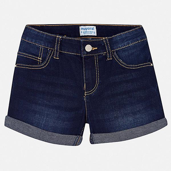 Шорты джинсовые Mayoral для девочкиШорты, бриджи, капри<br>Характеристики товара:<br><br>• цвет: джинс<br>• состав ткани: 85% хлопок, 13% полиэстер, 2% эластан<br>• сезон: лето<br>• шлевки<br>• регулируемая талия<br>• застежка: пуговица<br>• страна бренда: Испания<br>• неповторимый стиль Mayoral<br><br>Такие детские шорты сшиты из дышащего материала. Благодаря преобладанию в его составе натурального хлопка материал детских шорт создает комфортные условия для тела. Шорты для девочки от Mayoral отличаются стильным дизайном.<br><br>Шорты Mayoral (Майорал) для девочки можно купить в нашем интернет-магазине.<br>Ширина мм: 191; Глубина мм: 10; Высота мм: 175; Вес г: 273; Цвет: синий; Возраст от месяцев: 168; Возраст до месяцев: 180; Пол: Женский; Возраст: Детский; Размер: 170,128/134,140,152,158,164; SKU: 7547733;
