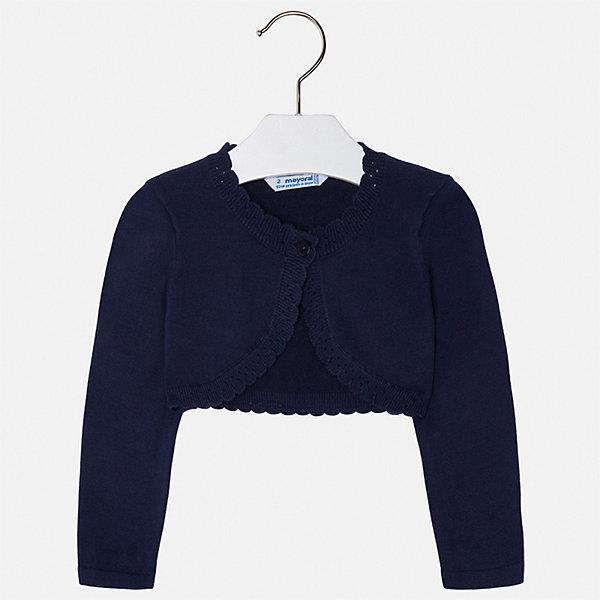 Жакет Mayoral для девочкиСвитера и кардиганы<br>Характеристики товара:<br><br>• цвет: синий<br>• состав ткани: 80% хлопок, 17% полиамид, 3% эластан<br>• сезон: демисезон<br>• застежка: пуговица<br>• длинные рукава<br>• страна бренда: Испания<br>• неповторимый стиль Mayoral<br><br>Болеро для ребенка - удобная вещь для создания оригинального наряда. Болеро для девочки отличается стильным продуманным дизайном. Детское болеро сделано из дышащего приятного на ощупь материала с преобладанием натурального хлопка в составе. <br><br>Болеро Mayoral (Майорал) для девочки можно купить в нашем интернет-магазине.<br>Ширина мм: 190; Глубина мм: 74; Высота мм: 229; Вес г: 236; Цвет: синий; Возраст от месяцев: 18; Возраст до месяцев: 24; Пол: Женский; Возраст: Детский; Размер: 92,134,128,122,116,110,104,98; SKU: 7547785;