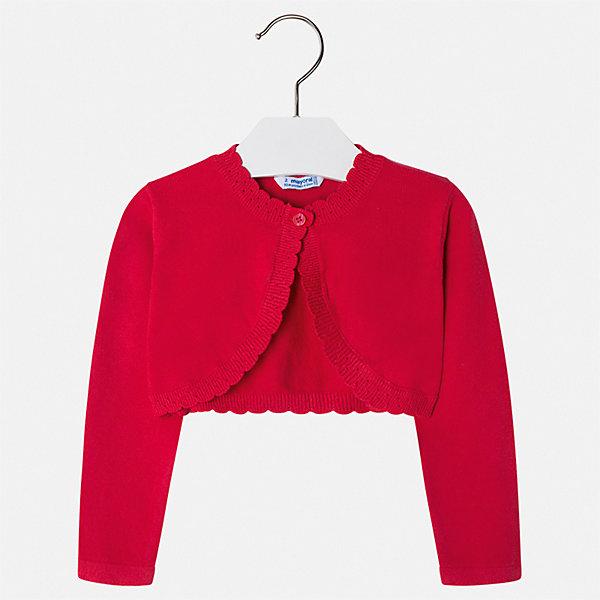 Жакет Mayoral для девочкиСвитера и кардиганы<br>Характеристики товара:<br><br>• цвет: красный<br>• состав ткани: 80% хлопок, 17% полиамид, 3% эластан<br>• сезон: демисезон<br>• застежка: пуговица<br>• длинные рукава<br>• страна бренда: Испания<br>• неповторимый стиль Mayoral<br><br>Эффектное болеро для ребенка поможет поставить яркий акцент в наряде. Болеро для девочки отличается высоким качеством пошива. Детское болеро разработано европейскими дизайнерами бренда Mayoral с учетом последних тенденций в молодежной моде. <br><br>Болеро Mayoral (Майорал) для девочки можно купить в нашем интернет-магазине.<br>Ширина мм: 190; Глубина мм: 74; Высота мм: 229; Вес г: 236; Цвет: красный; Возраст от месяцев: 96; Возраст до месяцев: 108; Пол: Женский; Возраст: Детский; Размер: 134,92,98,104,110,116,122,128; SKU: 7547803;