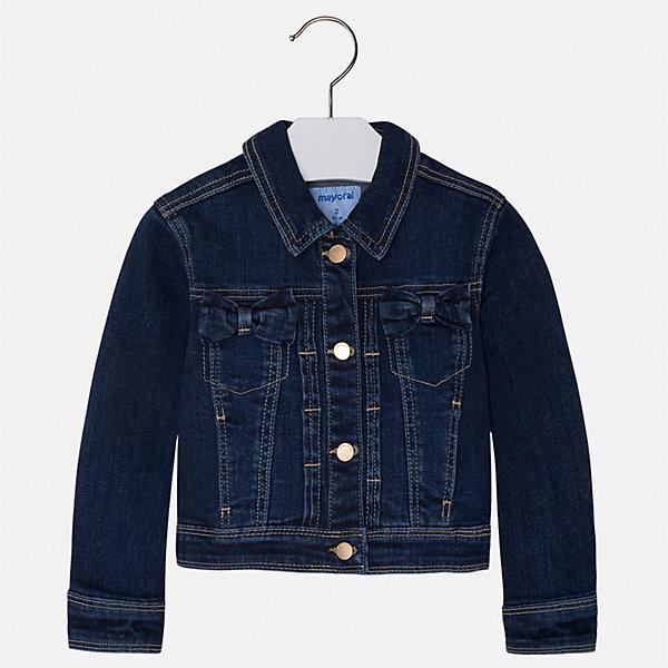 Куртка Mayoral для девочкиВерхняя одежда<br>Характеристики товара:<br><br>• цвет: синий<br>• состав ткани: 99% хлопок, 1% эластан<br>• утеплитель: нет<br>• сезон: демисезон<br>• особенности куртки: без капюшона<br>• застежка: пуговицы<br>• страна бренда: Испания<br>• неповторимый стиль Mayoral<br><br>Джинсовая детская куртка сделана из качественного материала и фурнитуры. Куртка для девочки отличается стильным продуманным кроем от европейских дизайнеров. В детской куртке есть карманы, модель дополнена отложным воротником.<br><br>Куртку Mayoral (Майорал) для девочки можно купить в нашем интернет-магазине.<br>Ширина мм: 356; Глубина мм: 10; Высота мм: 245; Вес г: 519; Цвет: синий; Возраст от месяцев: 96; Возраст до месяцев: 108; Пол: Женский; Возраст: Детский; Размер: 134,92,98,104,110,116,122,128; SKU: 7547869;