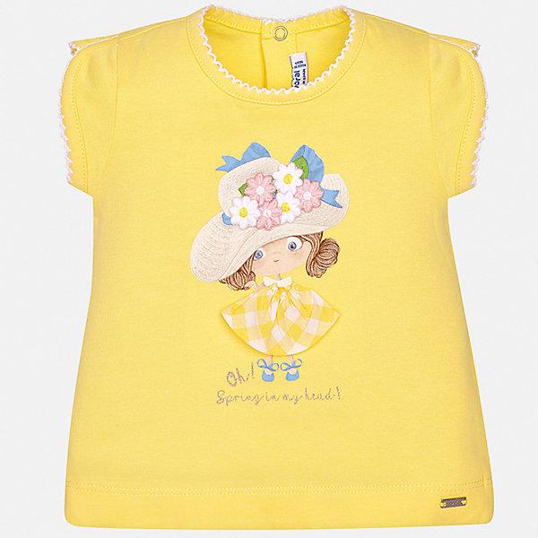 Футболка Mayoral для девочкиФутболки, топы<br>Характеристики товара:<br><br>• цвет: желтый<br>• состав ткани: 95% хлопок, 5% эластан<br>• сезон: лето<br>• застежка: кнопки<br>• короткие рукава<br>• страна бренда: Испания<br>• неповторимый стиль Mayoral<br><br>Оригинальная футболка для девочки отличается модным дизайном. Комфортная детская футболка с коротким рукавом украшена эффектным принтом от ведущих дизайнеров испанского бренда Mayoral. Края детской футболки обработаны мягкими швами. <br><br>Футболку Mayoral (Майорал) для девочки можно купить в нашем интернет-магазине.<br>Ширина мм: 199; Глубина мм: 10; Высота мм: 161; Вес г: 151; Цвет: желтый; Возраст от месяцев: 24; Возраст до месяцев: 36; Пол: Женский; Возраст: Детский; Размер: 98,74,80,86,92; SKU: 7548044;