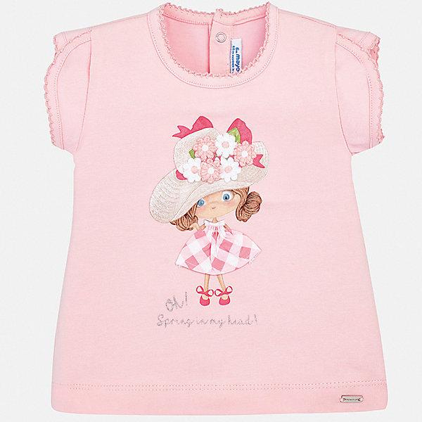 Футболка Mayoral для девочкиФутболки, поло и топы<br>Характеристики товара:<br><br>• цвет: розовый<br>• состав ткани: 95% хлопок, 5% эластан<br>• сезон: лето<br>• застежка: кнопки<br>• короткие рукава<br>• страна бренда: Испания<br>• неповторимый стиль Mayoral<br><br>Легкая детская футболка поможет создать модный и удобный наряд для ребенка. Эта футболка для девочки от Mayoral - универсальная и комфортная базовая вещь для детского гардероба. Хлопковая детская футболка сделана из натуральной трикотажной ткани, которая обеспечивает ребенку комфорт. <br><br>Футболку Mayoral (Майорал) для девочки можно купить в нашем интернет-магазине.<br>Ширина мм: 199; Глубина мм: 10; Высота мм: 161; Вес г: 151; Цвет: розовый; Возраст от месяцев: 6; Возраст до месяцев: 9; Пол: Женский; Возраст: Детский; Размер: 74,98,92,86,80; SKU: 7548050;