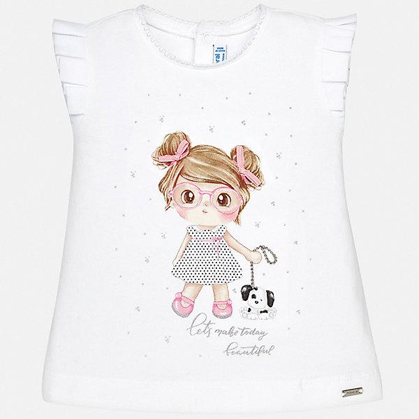 Футболка Mayoral для девочкиФутболки, топы<br>Характеристики товара:<br><br>• цвет: белый<br>• состав ткани: 92% хлопок, 8% эластан<br>• сезон: лето<br>• застежка: кнопки<br>• короткие рукава<br>• страна бренда: Испания<br>• неповторимый стиль Mayoral<br><br>Эта детская футболка - отличная основа для составления различных нарядов. Комфортная хлопковая футболка для девочки от Майорал поможет обеспечить ребенку комфорт. В футболке для девочки от испанской компании Майорал ребенок будет чувствовать себя удобно благодаря качественным швам и натуральному материалу. <br><br>Футболку Mayoral (Майорал) для девочки можно купить в нашем интернет-магазине.<br>Ширина мм: 199; Глубина мм: 10; Высота мм: 161; Вес г: 151; Цвет: розовый; Возраст от месяцев: 18; Возраст до месяцев: 24; Пол: Женский; Возраст: Детский; Размер: 92,74,80,86; SKU: 7548056;