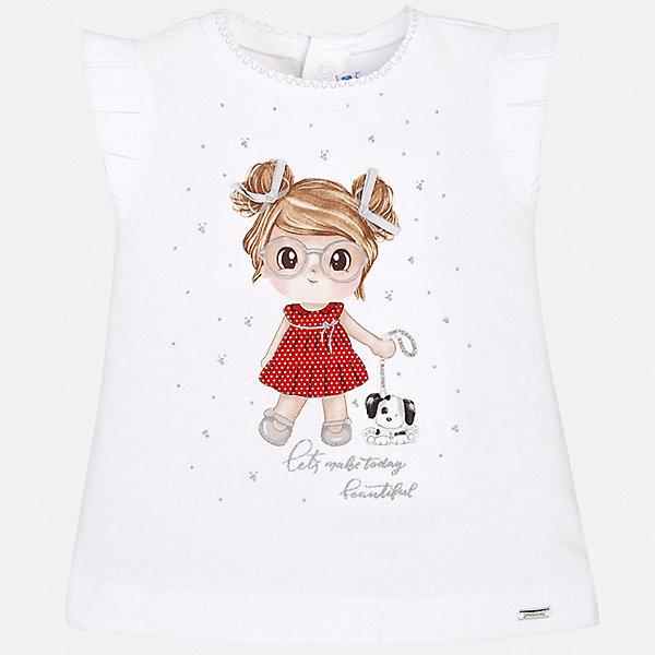 Футболка Mayoral для девочкиФутболки, поло и топы<br>Характеристики товара:<br><br>• цвет: белый<br>• состав ткани: 92% хлопок, 8% эластан<br>• сезон: лето<br>• застежка: кнопки<br>• короткие рукава<br>• страна бренда: Испания<br>• неповторимый стиль Mayoral<br><br>Оригинальная детская футболка с коротким рукавом украшена эффектным принтом от ведущих дизайнеров испанского бренда Mayoral. Эта футболка для девочки отличается модным дизайном. Края детской футболки обработаны мягкими швами. <br><br>Футболку Mayoral (Майорал) для девочки можно купить в нашем интернет-магазине.<br>Ширина мм: 199; Глубина мм: 10; Высота мм: 161; Вес г: 151; Цвет: красный; Возраст от месяцев: 6; Возраст до месяцев: 9; Пол: Женский; Возраст: Детский; Размер: 74,92,86,80; SKU: 7548061;
