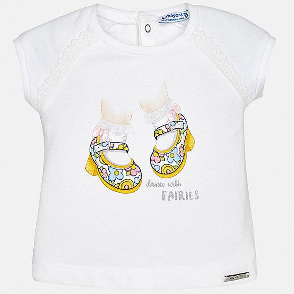 Футболка Mayoral для девочкиФутболки, топы<br>Характеристики товара:<br><br>• цвет: белый<br>• состав ткани: 95% хлопок, 5% эластан<br>• сезон: лето<br>• застежка: кнопки<br>• короткие рукава<br>• страна бренда: Испания<br>• неповторимый стиль Mayoral<br><br>Белая детская футболка сделана из натуральной трикотажной ткани, которая обеспечивает ребенку комфорт. Такая детская футболка поможет создать модный и удобный наряд для ребенка. Эта футболка для девочки от Mayoral - универсальная и комфортная базовая вещь для детского гардероба. <br><br>Футболку Mayoral (Майорал) для девочки можно купить в нашем интернет-магазине.<br>Ширина мм: 199; Глубина мм: 10; Высота мм: 161; Вес г: 151; Цвет: желтый; Возраст от месяцев: 6; Возраст до месяцев: 9; Пол: Женский; Возраст: Детский; Размер: 74,98,92,86,80; SKU: 7548082;