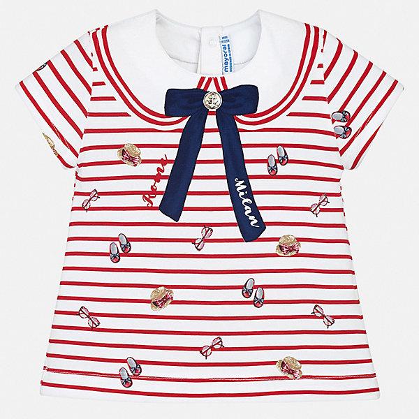 Футболка Mayoral для девочкиОдежда<br>Характеристики товара:<br><br>• цвет: белый<br>• состав ткани: 92% хлопок, 8% эластан<br>• сезон: лето<br>• застежка: кнопки<br>• короткие рукава<br>• страна бренда: Испания<br>• неповторимый стиль Mayoral<br><br>Оригинальная детская футболка сделана из натуральной трикотажной ткани, которая обеспечивает ребенку комфорт. Такая детская футболка поможет создать модный и удобный наряд для ребенка. Эта футболка для девочки от Mayoral - универсальная и комфортная базовая вещь для детского гардероба. <br><br>Футболку Mayoral (Майорал) для девочки можно купить в нашем интернет-магазине.<br>Ширина мм: 199; Глубина мм: 10; Высота мм: 161; Вес г: 151; Цвет: красный; Возраст от месяцев: 24; Возраст до месяцев: 36; Пол: Женский; Возраст: Детский; Размер: 98,74,80,86,92; SKU: 7548100;