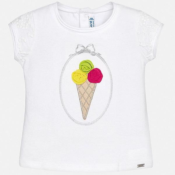 Футболка Mayoral для девочкиФутболки, топы<br>Характеристики товара:<br><br>• цвет: белый<br>• состав ткани: 92% хлопок, 8% эластан<br>• сезон: лето<br>• застежка: кнопки<br>• короткие рукава<br>• страна бренда: Испания<br>• неповторимый стиль Mayoral<br><br>Такая детская футболка с коротким рукавом украшена эффектным принтом от ведущих дизайнеров испанского бренда Mayoral. Эта футболка для девочки отличается модным дизайном. Края детской футболки обработаны мягкими швами. <br><br>Футболку Mayoral (Майорал) для девочки можно купить в нашем интернет-магазине.<br>Ширина мм: 199; Глубина мм: 10; Высота мм: 161; Вес г: 151; Цвет: белый; Возраст от месяцев: 24; Возраст до месяцев: 36; Пол: Женский; Возраст: Детский; Размер: 98,74,80,86,92; SKU: 7548111;