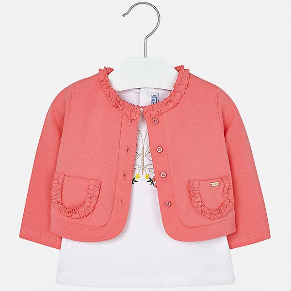 Купить Комплект:блузка, кардиган Mayoral для девочки, Индия, розовый, 74, 98, 92, 86, 80, Женский