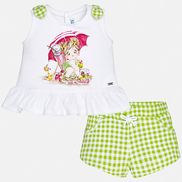 Комплект:шорты, блузка Mayoral для девочки, Индия, зеленый, 74, 98, 92, 86, 80, Женский  - купить со скидкой