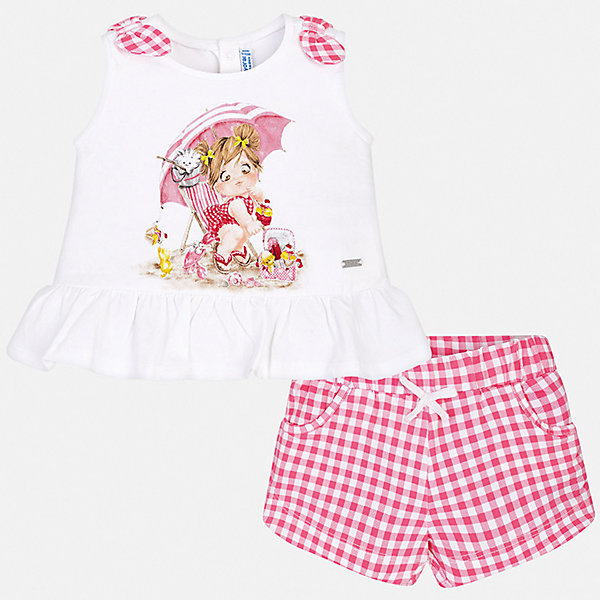 Купить Комплект:шорты, блузка Mayoral для девочки, Китай, розовый, 98, 92, 86, 74, 80, Женский