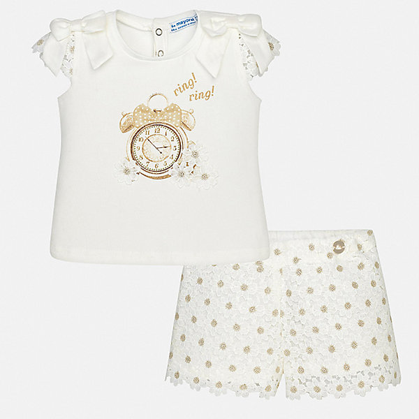 Комплект: футболка и шорты Mayoral для девочкиКомплекты<br>Характеристики товара:<br><br>• цвет: белый<br>• комплектация: шорты, блузка<br>• состав ткани: 95% хлопок, 5% эластан<br>• сезон: лето<br>• пояс: резинка<br>• застежка: кнопки<br>• короткие рукава<br>• страна бренда: Испания<br>• неповторимый стиль Mayoral<br><br>Кружевные блузка и шорты для девочки от Майорал помогут обеспечить ребенку комфорт в жаркое время года. В таком детском комплекте - сразу две стильные вещи. В блузке и шортах для девочки от испанской компании Майорал ребенок будет выглядеть модно, а чувствовать себя - удобно.<br><br>Комплект: блузка, шорты Mayoral (Майорал) для девочки можно купить в нашем интернет-магазине.<br>Ширина мм: 191; Глубина мм: 10; Высота мм: 175; Вес г: 273; Цвет: бежевый; Возраст от месяцев: 12; Возраст до месяцев: 18; Пол: Женский; Возраст: Детский; Размер: 86,92,80,74,98; SKU: 7548231;