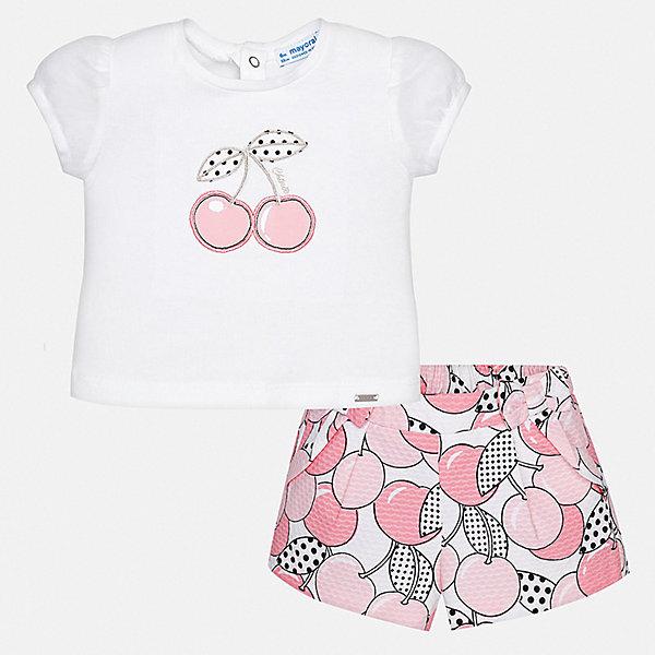 Комплект: шорты Mayoral для девочкиКомплекты<br>Характеристики товара:<br><br>• цвет: розовый<br>• комплектация: шорты, блузка<br>• состав ткани: 96% хлопок, 4% эластан<br>• сезон: лето<br>• пояс: резинка<br>• застежка: кнопки<br>• короткие рукава<br>• страна бренда: Испания<br>• неповторимый стиль Mayoral<br><br>В блузке и шортах для девочки от испанской компании Майорал ребенок сможет чувствовать себя удобно на протяжении всего дня. Эти блузка и шорты для девочки от Майорал помогут обеспечить ребенку комфорт в жаркое время года. В таком детском комплекте - сразу две стильные вещи. <br><br>Комплект: блузка, шорты Mayoral (Майорал) для девочки можно купить в нашем интернет-магазине.<br>Ширина мм: 191; Глубина мм: 10; Высота мм: 175; Вес г: 273; Цвет: розовый; Возраст от месяцев: 6; Возраст до месяцев: 9; Пол: Женский; Возраст: Детский; Размер: 74,92,86,80; SKU: 7548249;