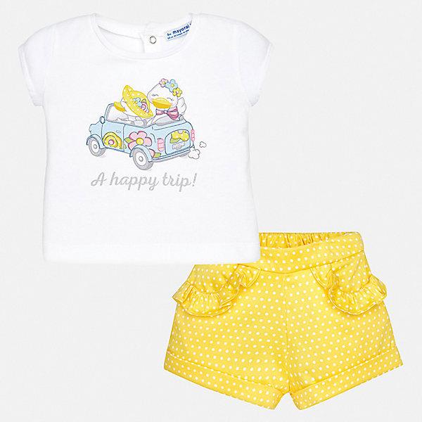 Комплект:бриджи,футболка Mayoral для девочкиКомплекты<br>Характеристики товара:<br><br>• цвет: желтый<br>• комплектация: шорты, футболка<br>• состав ткани: 96% хлопок, 4% эластан<br>• сезон: лето<br>• пояс: резинка<br>• застежка: кнопки<br>• короткие рукава<br>• страна бренда: Испания<br>• неповторимый стиль Mayoral<br><br>Хлопковые футболка и шорты для девочки от Майорал - отличный комплект для жаркого времени года. В этом детском комплекте - сразу две качественные и модные вещи. В футболке и шортах для девочки от испанской компании Майорал ребенок будет чувствовать себя удобно благодаря высокому качеству материала и швов. <br><br>Комплект: шорты, футболка Mayoral (Майорал) для девочки можно купить в нашем интернет-магазине.<br>Ширина мм: 191; Глубина мм: 10; Высота мм: 175; Вес г: 273; Цвет: желтый; Возраст от месяцев: 6; Возраст до месяцев: 9; Пол: Женский; Возраст: Детский; Размер: 74,98,92,86,80; SKU: 7548276;