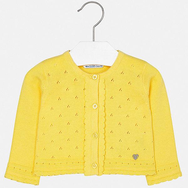 Кардиган Mayoral для девочкиТолстовки, свитера, кардиганы<br>Характеристики товара:<br><br>• цвет: желтый<br>• состав ткани: 100% хлопок<br>• сезон: демисезон<br>• застежка: пуговицы<br>• длинные рукава<br>• страна бренда: Испания<br>• неповторимый стиль Mayoral<br><br>Яркий жакет для ребенка выполнен в приятном цвете. Жакет для девочки отличается прямым силуэтом. Детский жакет сделан из материала с преобладанием натурального хлопка в составе, дышащего и гипоаллергенного. <br><br>Жакет Mayoral (Майорал) для девочки можно купить в нашем интернет-магазине.<br>Ширина мм: 190; Глубина мм: 74; Высота мм: 229; Вес г: 236; Цвет: желтый; Возраст от месяцев: 24; Возраст до месяцев: 36; Пол: Женский; Возраст: Детский; Размер: 98,74,80,86,92; SKU: 7548306;