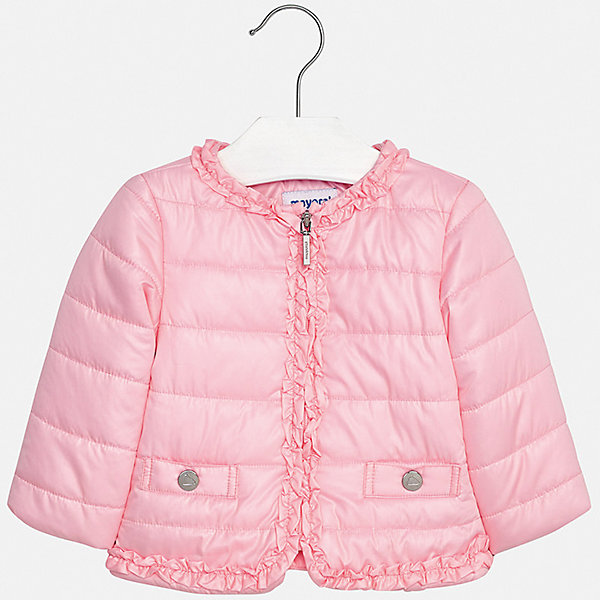 Куртка Mayoral для девочкиВерхняя одежда<br>Характеристики товара:<br><br>• цвет: розовый<br>• состав ткани: 100% полиэстер<br>• подкладка: 100% полиэстер<br>• утеплитель: 100% полиэстер<br>• сезон: демисезон<br>• температурный режим: от +10 до +20<br>• особенности куртки: без капюшона<br>• застежка: молния<br>• страна бренда: Испания<br>• неповторимый стиль Mayoral<br><br>Яркая детская куртка подойдет для переменной погоды. Такая куртка от испанского бренда Mayoral - хороший способ обеспечить ребенку тепло и комфорт. Детская куртка сшита из приятного на ощупь материала. Куртка для девочки Mayoral украшена рюшами.<br><br>Куртку Mayoral (Майорал) для девочки можно купить в нашем интернет-магазине.<br>Ширина мм: 356; Глубина мм: 10; Высота мм: 245; Вес г: 519; Цвет: розовый; Возраст от месяцев: 24; Возраст до месяцев: 36; Пол: Женский; Возраст: Детский; Размер: 98,86,92; SKU: 7548354;