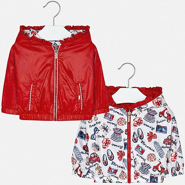 Куртка двусторонняя Mayoral для девочкиВерхняя одежда<br>Характеристики товара:<br><br>• цвет: красный<br>• состав ткани: 100% полиэстер<br>• подкладка: 100% полиамид<br>• утеплитель: нет<br>• сезон: демисезон<br>• температурный режим: от +10 до +20<br>• особенности куртки: с капюшоном, двусторонняя<br>• капюшон: несъемный<br>• застежка: молния<br>• страна бренда: Испания<br>• неповторимый стиль Mayoral<br><br>Яркая двусторонняя детская куртка сшита из качественного на материала. Демисезонная куртка для девочки Mayoral дополнена удобными карманами. Легкая куртка для ребенка отличается прямым силуэтом. Детская куртка обеспечит ребенку тепло и стильный внешний вид. <br><br>Куртку двустороннюю Mayoral (Майорал) для девочки можно купить в нашем интернет-магазине.<br>Ширина мм: 356; Глубина мм: 10; Высота мм: 245; Вес г: 519; Цвет: красный; Возраст от месяцев: 12; Возраст до месяцев: 18; Пол: Женский; Возраст: Детский; Размер: 86,98,92; SKU: 7548370;