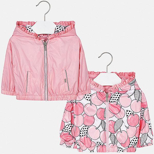 Куртка двусторонняя Mayoral для девочкиВерхняя одежда<br>Характеристики товара:<br><br>• цвет: розовый<br>• состав ткани: 100% полиэстер<br>• подкладка: 100% полиамид<br>• утеплитель: нет<br>• сезон: демисезон<br>• температурный режим: от +10 до +20<br>• особенности куртки: с капюшоном, двусторонняя<br>• капюшон: несъемный<br>• застежка: молния<br>• страна бренда: Испания<br>• неповторимый стиль Mayoral<br><br>Двусторонняя детская ветровка подойдет для переменной погоды. Эта куртка от Mayoral отличается стильным оригинальным дизайном. Детская куртка сшита из легкого качественного материала. Куртка для девочки Mayoral дополнена капюшоном и карманами.<br><br>Куртку двустороннюю Mayoral (Майорал) для девочки можно купить в нашем интернет-магазине.<br>Ширина мм: 356; Глубина мм: 10; Высота мм: 245; Вес г: 519; Цвет: розовый; Возраст от месяцев: 12; Возраст до месяцев: 18; Пол: Женский; Возраст: Детский; Размер: 86,98,92; SKU: 7548378;