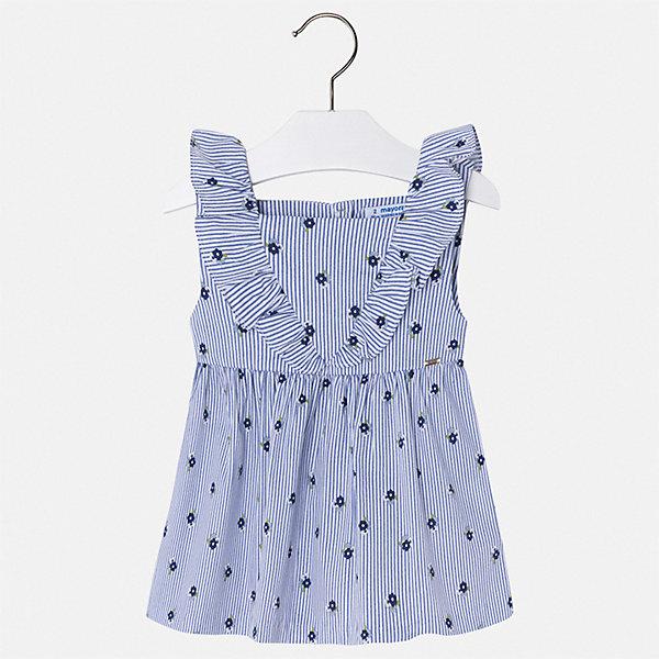 Блуза Mayoral для девочкиБлузки и рубашки<br>Характеристики товара:<br><br>• цвет: голубой<br>• состав ткани: 100% хлопок<br>• подкладка: 100% хлопок<br>• сезон: лето<br>• застежка: кнопки<br>• страна бренда: Испания<br>• стиль и качество Mayoral<br><br>Такая детская блуза - универсальная базовая вещь. Эта блуза для девочки от Майорал поможет обеспечить ребенку комфорт. В блузе для девочки от испанской компании Майорал ребенок будет чувствовать себя удобно благодаря тщательно обработанным швам и качественному материалу. <br><br>Блузу Mayoral (Майорал) для девочки можно купить в нашем интернет-магазине.<br>Ширина мм: 186; Глубина мм: 87; Высота мм: 198; Вес г: 197; Цвет: синий; Возраст от месяцев: 18; Возраст до месяцев: 24; Пол: Женский; Возраст: Детский; Размер: 134,128,122,116,110,104,98,92; SKU: 7548567;