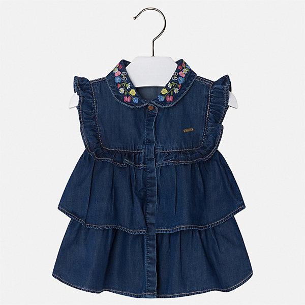 Блуза Mayoral для девочкиБлузки и рубашки<br>Характеристики товара:<br><br>• цвет: синий<br>• состав ткани: 100% хлопок<br>• сезон: лето<br>• застежка: пуговицы<br>• страна бренда: Испания<br>• стиль и качество Mayoral<br><br>Джинсовая детская блуза отличается модным дизайном от ведущих специалистов испанского бренда Mayoral. Эта блуза для девочки смотрится стильно и элегантно. Детская блуза украшена оригинальным декором. <br><br>Блузу Mayoral (Майорал) для девочки можно купить в нашем интернет-магазине.<br>Ширина мм: 186; Глубина мм: 87; Высота мм: 198; Вес г: 197; Цвет: голубой; Возраст от месяцев: 18; Возраст до месяцев: 24; Пол: Женский; Возраст: Детский; Размер: 92,134,128,122,116,110,104,98; SKU: 7548576;