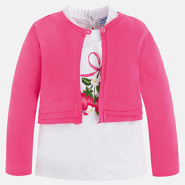 Комплект:блузка, кардиган Mayoral для девочки, Индия, розовый, 104, 134, 128, 122, 116, 110, 98, 92, Женский  - купить со скидкой