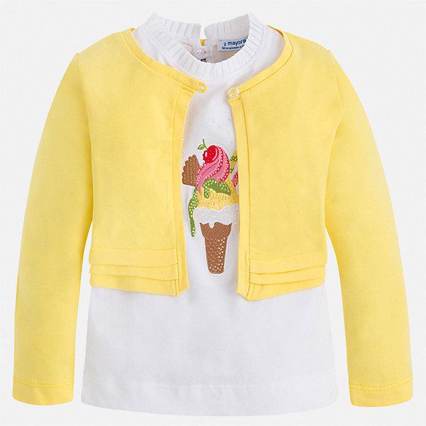 Комплект:блузка, кардиган Mayoral для девочки, Индия, желтый, 92, 134, 128, 122, 116, 110, 104, 98, Женский  - купить со скидкой