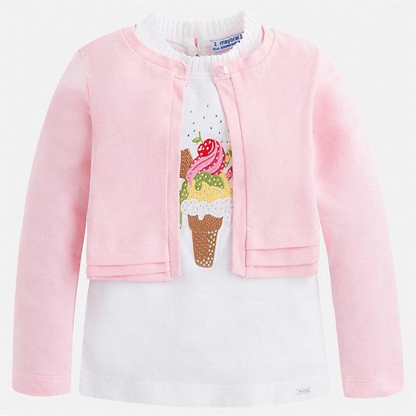 Купить Комплект:блузка, кардиган Mayoral для девочки, Китай, розовый, 92, 134, 128, 122, 116, 110, 104, 98, Женский