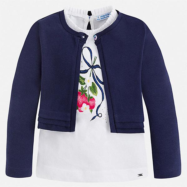 Комплект:блузка,кардиган Mayoral для девочкиКомплекты<br>Характеристики товара:<br><br>• цвет: синий<br>• комплектация: блузка, кардиган <br>• состав ткани: 92% хлопок, 8% эластан<br>• сезон: демисезон<br>• застежка: пуговицы<br>• страна бренда: Испания<br>• стиль и качество Mayoral<br><br>Оригинальный комплект для девочки отличается стильным продуманным дизайном. Детский кардиган сделан из дышащего приятного на ощупь материала с преобладанием натурального хлопка в составе. Кардиган и блузка для ребенка - готовый оригинальный наряд. <br><br>Комплект: блузка, кардиган Mayoral (Майорал) для девочки можно купить в нашем интернет-магазине.<br>Ширина мм: 190; Глубина мм: 74; Высота мм: 229; Вес г: 236; Цвет: синий; Возраст от месяцев: 18; Возраст до месяцев: 24; Пол: Женский; Возраст: Детский; Размер: 92,134,128,122,116,110,104,98; SKU: 7548612;