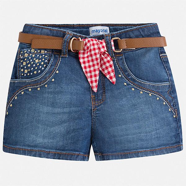 Шорты джинсовые Mayoral для девочкиДжинсовая одежда<br>Характеристики товара:<br><br>• цвет: синий<br>• комплектация: шорты, ремень<br>• состав ткани: 98% хлопок, 2% эластан<br>• сезон: лето<br>• регулируемая талия<br>• застежка: молния<br>• шлевки<br>• страна бренда: Испания<br>• стиль и качество Mayoral<br><br>Джинсовые шорты для девочки Mayoral украшены оригинальным декором. Эти шорты от Mayoral - отличный вариант комфортной одежды для жаркой погоды. Детские шорты сшиты из качественного материала с преобладанием хлопка в составе. <br><br>Шорты Mayoral (Майорал) для девочки можно купить в нашем интернет-магазине.<br>Ширина мм: 191; Глубина мм: 10; Высота мм: 175; Вес г: 273; Цвет: синий; Возраст от месяцев: 72; Возраст до месяцев: 84; Пол: Женский; Возраст: Детский; Размер: 122,134,116,110,104,98,92,128; SKU: 7548705;