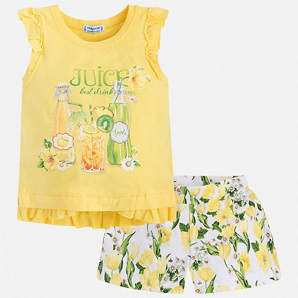 Купить Комплект:шорты, футболка Mayoral для девочки, Китай, желтый, 92, 128, 122, 116, 110, 134, 104, 98, Женский