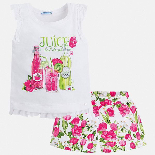 Купить Комплект:шорты, футболка Mayoral для девочки, Китай, розовый, 116, 110, 104, 98, 92, 134, 128, 122, Женский