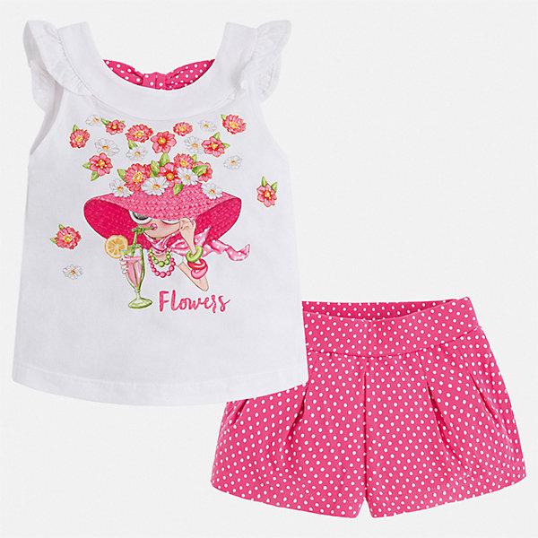 Комплект:шорты,футболка Mayoral для девочкиКомплекты<br>Характеристики товара:<br><br>• цвет: розовый<br>• комплектация: шорты, майка<br>• состав ткани: 95% хлопок, 5% эластан<br>• сезон: лето<br>• страна бренда: Испания<br>• стиль и качество Mayoral<br><br>Оригинальный комплект - детские шорты и майка - подойдет для ношения в разных случаях. Отличный способ обеспечить ребенку комфорт в жаркую погоду - надеть этот комплект от Mayoral. Детские шорты и рубашка сшиты из качественного материала с преобладанием хлопка в составе. <br><br>Комплект: шорты, майка Mayoral (Майорал) для девочки можно купить в нашем интернет-магазине.<br>Ширина мм: 191; Глубина мм: 10; Высота мм: 175; Вес г: 273; Цвет: розовый; Возраст от месяцев: 18; Возраст до месяцев: 24; Пол: Женский; Возраст: Детский; Размер: 92,134,128,122,116,110,104,98; SKU: 7548795;