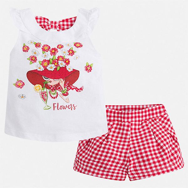 Комплект:шорты,футболка Mayoral для девочкиКомплекты<br>Характеристики товара:<br><br>• цвет: красный<br>• комплектация: шорты, майка<br>• состав ткани: 95% хлопок, 5% эластан<br>• сезон: лето<br>• страна бренда: Испания<br>• стиль и качество Mayoral<br><br>Такие майка и шорты для девочки от Майорал помогут обеспечить ребенку комфорт в жаркое время года. В этом детском комплекте - сразу две стильные вещи. В майка и шортах для девочки от испанской компании Майорал ребенок будет выглядеть модно, а чувствовать себя - удобно. <br><br>Комплект: шорты, майка Mayoral (Майорал) для девочки можно купить в нашем интернет-магазине.<br>Ширина мм: 191; Глубина мм: 10; Высота мм: 175; Вес г: 273; Цвет: красный; Возраст от месяцев: 18; Возраст до месяцев: 24; Пол: Женский; Возраст: Детский; Размер: 92,134,128,122,116,110,104,98; SKU: 7548813;