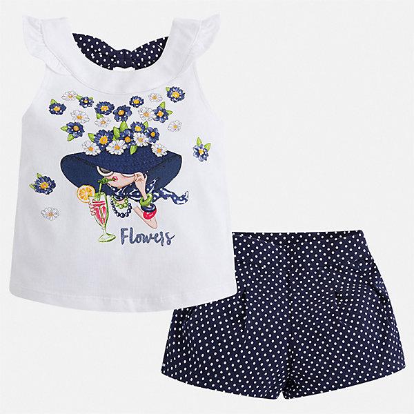 Комплект:шорты,футболка Mayoral для девочкиКомплекты<br>Характеристики товара:<br><br>• цвет: синий<br>• комплектация: шорты, майка<br>• состав ткани: 95% хлопок, 5% эластан<br>• сезон: лето<br>• страна бренда: Испания<br>• стиль и качество Mayoral<br><br>Стильный комплект - детские шорты и майка - подойдет для ношения в разных случаях. Отличный способ обеспечить ребенку комфорт в жаркую погоду - надеть этот комплект от Mayoral. Детские шорты и рубашка сшиты из качественного материала с преобладанием хлопка в составе. <br><br>Комплект: шорты, майка Mayoral (Майорал) для девочки можно купить в нашем интернет-магазине.<br>Ширина мм: 191; Глубина мм: 10; Высота мм: 175; Вес г: 273; Цвет: синий; Возраст от месяцев: 60; Возраст до месяцев: 72; Пол: Женский; Возраст: Детский; Размер: 116,110,104,98,92,134,128,122; SKU: 7548822;
